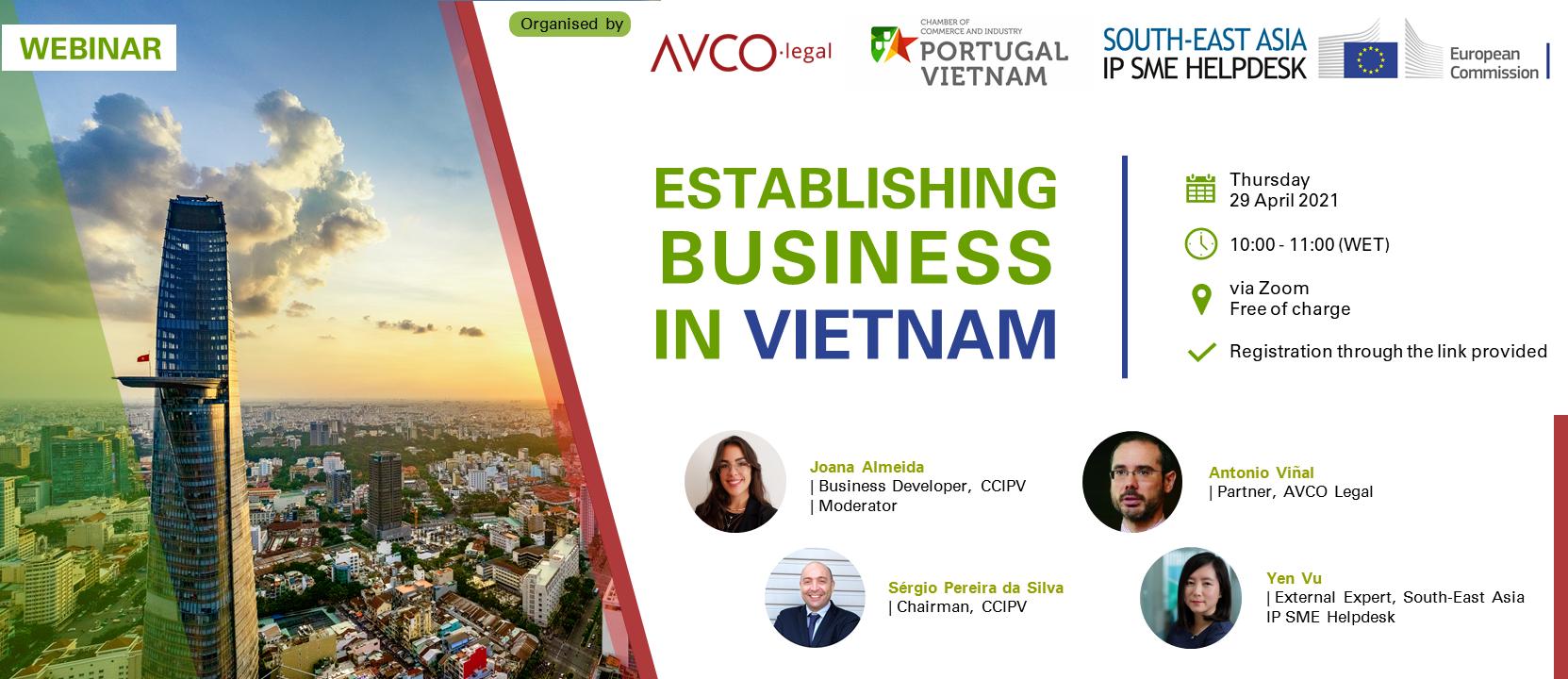 Webinar: Establishing Business in Vietnam (Co-Organised with CCIPV & AVCO Legal)